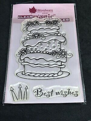 Woodware Magic Singles clear stamp set - Huge Cake & Candles flowers best wishes