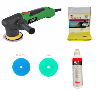 Mini Exzenter Poliermaschine + Rupes Polierschwamm + Koch Chemie Heavy Cut + 3M
