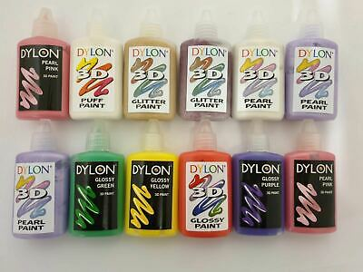 Dylon 3D Fabric Clothes Craft Paint Ultimate Set Of 12 Paints