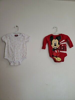 Boys Size 6-9 Months Lot Of 2 Bodysuits Mickey Mouse Pooh Bear And Piglet
