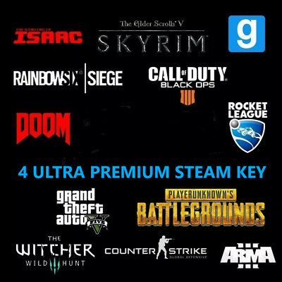 4X⚡ULTRA PREMIUM⚡ Random Steam Keys GLOBAL($80+ Value)[RUST,GTA V,PUBG]+BONUS