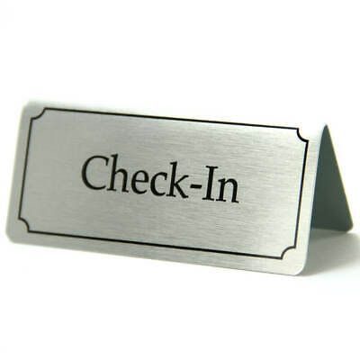 Stainless Steel Check In Sign.Reception Sign. Check In Sign. Desk Signs.Check In