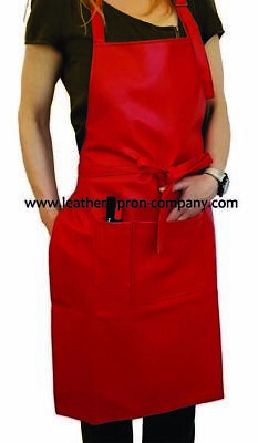 Unisex  Faux Leather Apron in Red with Lining at the Back