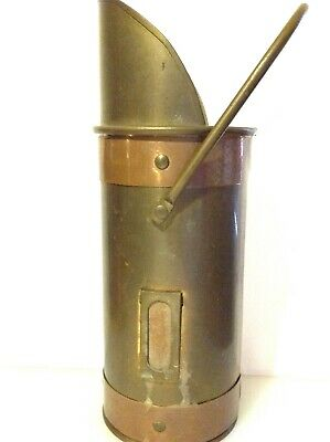Vintage Antique Brass & Copper Long Match Holder With Striker Stove Fireplace