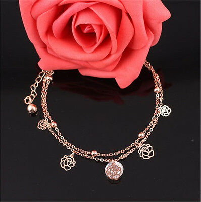 Pretty Gold Plated Anklets Flower Carving Hollow Ankle Bracelet Foot Chain~PL