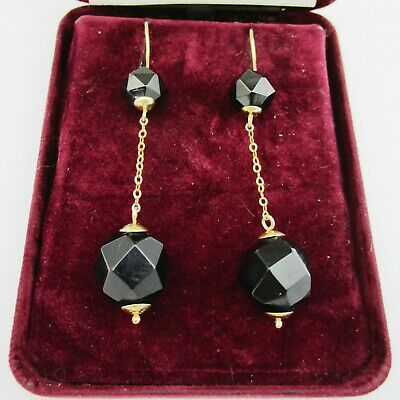 Lovely Pair Of Gold Mounted & Faceted Jet Drop Earrings.