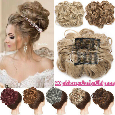 NEW Scrunchie Messy Bun Chignon Curly LARGE THICK Hair Extension Blonde Brown UK