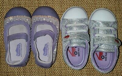 Lot of 2 pairs GIRLS Size 6 Baby Shoes SEE KAI RUN SIMPLE Sparkle Purple EUC