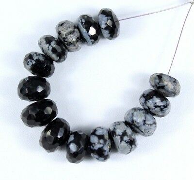 Natural Snowflake Obsidian Faceted Rondelle Bead 14pcs 41.25cts