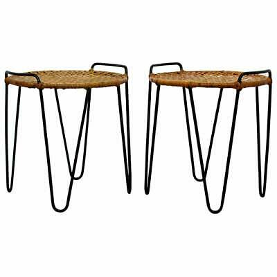 Mid Century Modern Pair Hairpin Iron Cane Stools Side Tables by Tony Paul 1950s