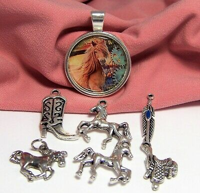 Sea Horse Silver Bronze Golden Charms Pendants Mix Boho Summer Beach TSC96B
