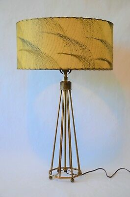 vintage 1950's Mid-Century Modern Atomic ranch Wire Frame Lamp and laced Shade