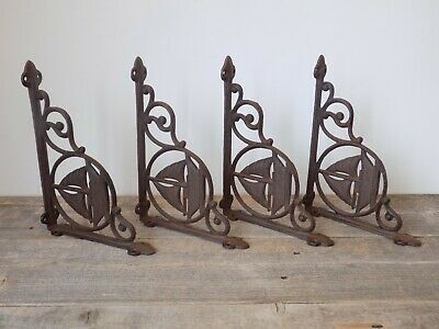 4 CAST IRON ANTIQUE STYLE SAIL BOAT NAUTICAL BRACKETS GARDEN BRACES SHELF Corbel