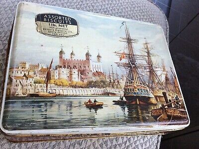 Wright's Biscuit Tin South Shields Vintage collectable Sailing Ships