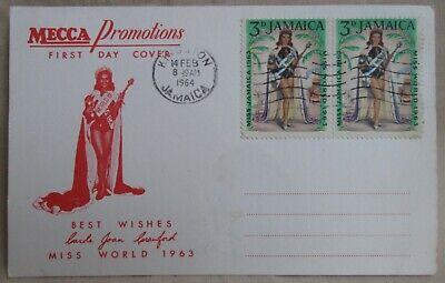 Miss World 1963 postcard. Stamps franked Jamaica 14th Feb 1964. Mecca Promotions