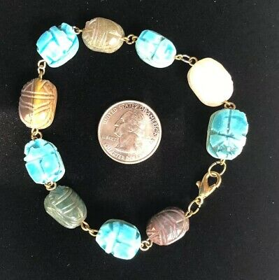 Egyptian Revival Hand Carved Scarab Bracelet With Agates, Tigers Eye & Ceramic