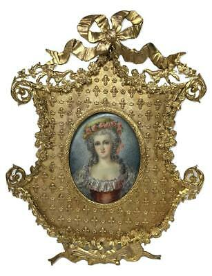 RARE Antique French Ormolu Bronze Louis XVI Bourbon Noble Woman Framed Portrait