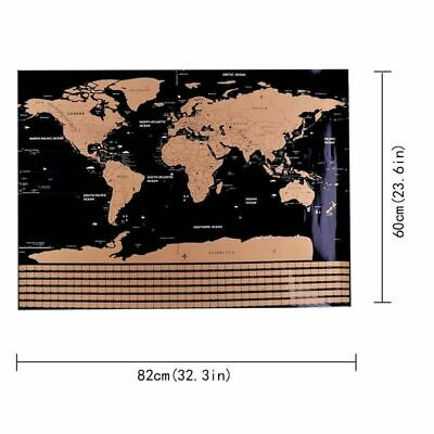 Scratch Off Map Large World Map Country Flags Scratch Wall Decor Gift Black New