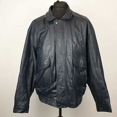 St. Michael Mens Leather Jacket XL (44-46'') Extra Large Black VINTAGE RETRO M&S