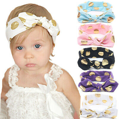 Toddler Baby Girls Turban Spotted Hair Band Elastic Headband Bow Knot Headwrap