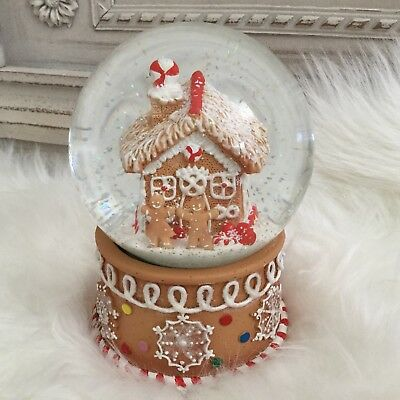 Gingerbread House Man Musical Christmas Snow Globe Gisela Graham Dome Gift