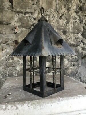 Vintage French Iron Ceiling Light Fixture Lamp Hand Welded Forged Black Pendant