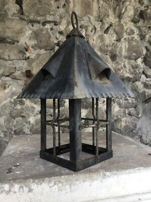 Vintage French Wrought Iron Ceiling Light Fixture Lamp Hand Forged Black Pendant