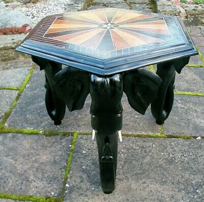 Antique  Ebonised Anglo/Indian  Side Table With 3 Elephant Head Legs