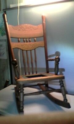 """Antique (very old) 30"""" High Children's/Larger Doll Solid Hardwood Rocking Chair"""