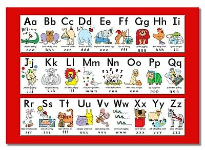 Alphabet Learning Poster Animation Kids School Picture Children Education Print