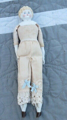 """Antique Bisque 11.5"""" Blonde China Doll Brown Shoes & Garters Victorian Age Gloss"""