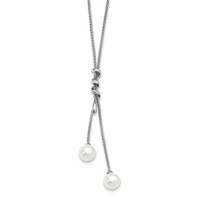 Majestic Sterling Silver 8-9MM White Imitation Shell Pearl CZ Necklace 17