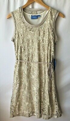 Simply Vera Beige/Ivory Lace overlay Belted Dress contrast trim Size LARGE NWT