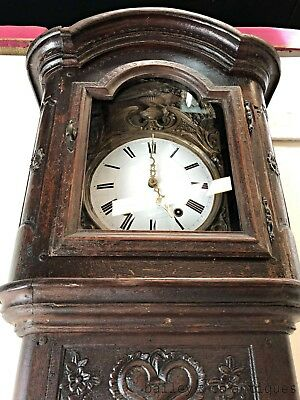 Antique French Comptoise Grandfather Clock Chestnut Rare Carved - OF050
