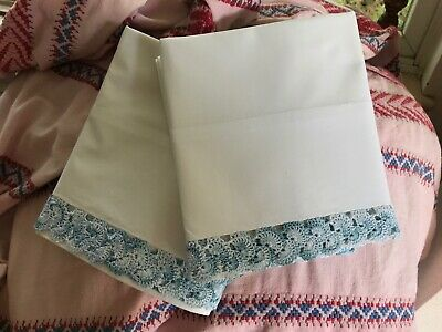"PAIR WHITE PERCALE COTTON PILLOWCASES 20""X32"" /  BLUE multi hand crocheted edges"