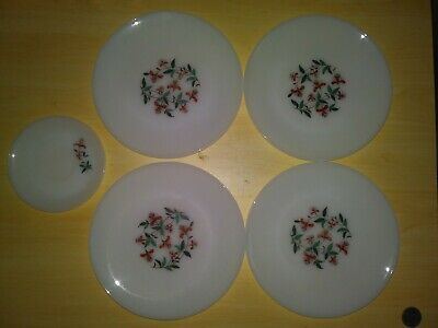 Rare Vintage Fire King Ware Milk Glass Plates with Red Flowers