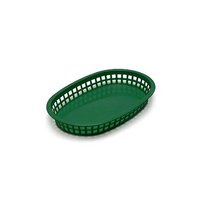 TableCraft C1076FG Chicago Basket Oval 10.5in x 7in Forest Green Set of 12