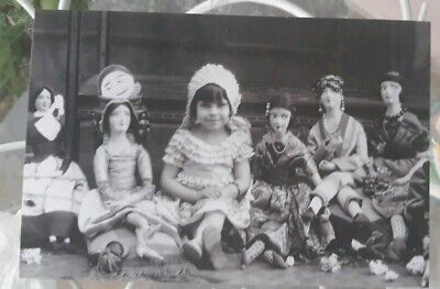 Vintage Photo Reprint Cute Baby Girl With Her Flapper Dolls 1920s