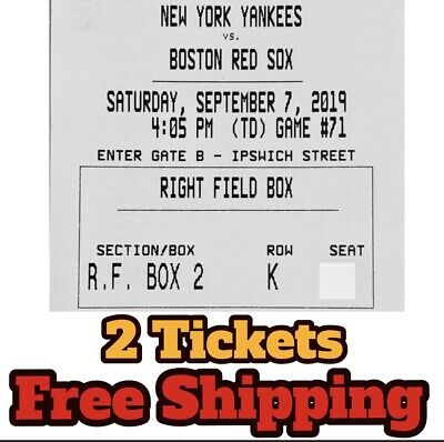 NEW YORK YANKEES VS BOSTON RED SOX 2 TWO Tickets Saturday 9/7 NR FREE SHIPPING