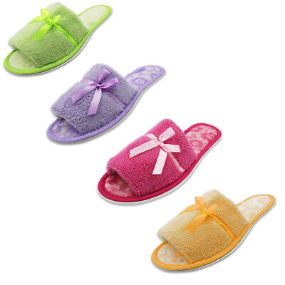 Women's Plush Open Toe Slippers Soft Comfy Terry Cloth House Shoes