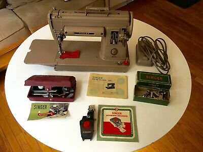 1952 Singer Sewing Machine 301 - Tan (with button-hole and zigzag attachments)