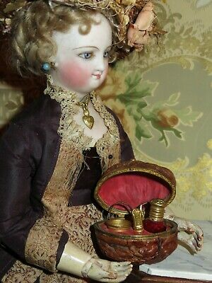 Very Rare A/O Antique French Miniature Walnut Sewing Etui For Fashion Dolls!