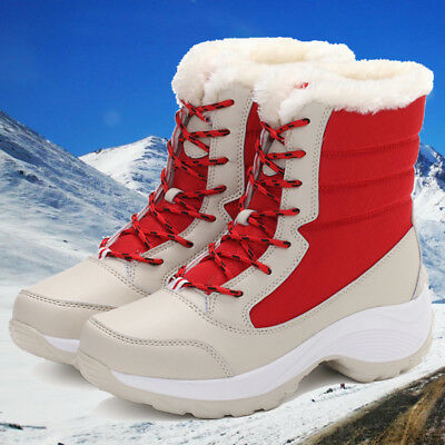 Women's Winter Warm Snow Boots Lady Platform Fur Lined Waterproof Lace Up Shoes