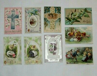 (9) VINTAGE ANTIQUE EASTER GREETINGS POSTCARDS EARLY 1900's EMBOSSED!!