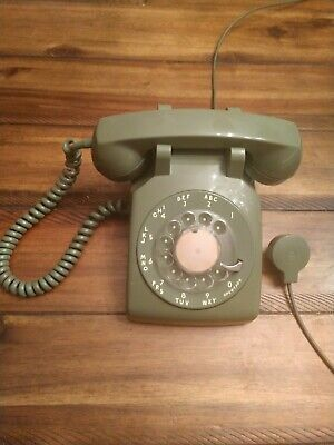 Vintage Bell System Western Electric Avocado Green Rotary Dial Desk Telephone