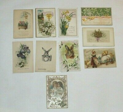 (10) VINTAGE ANTIQUE EASTER GREETINGS POSTCARDS EARLY 1900's EMBOSSED!!