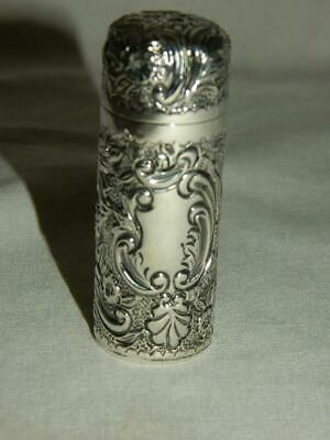Antique C.1899 English Repousse Sterling Silver Hinged Scent Perfume Bottle