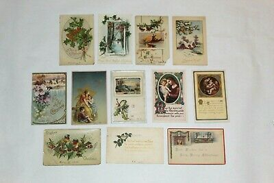 (12) VINTAGE ANTIQUE CHRISTMAS POSTCARDS EARLY 1900's EMBOSSED!!
