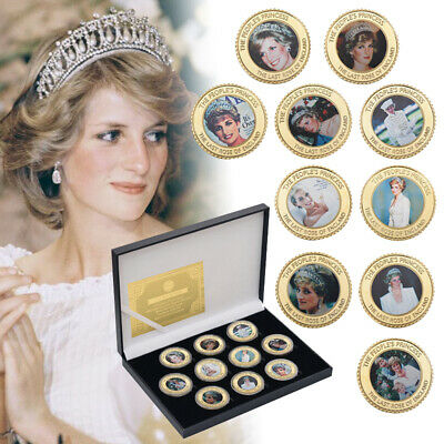 10pcs Diana Princess of Wales Gold Plated Challenge Coin Collectibles W/Box Gift
