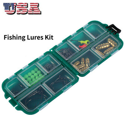 MilepetUS 83PCS Fishing Accessories Kit Texas Rig Including Bullet Sinker Snap